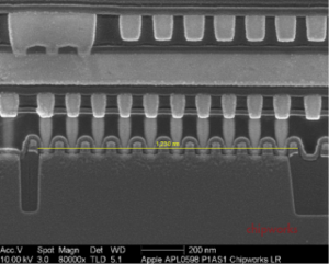 SEM Cross-Section of Apple A6 (APL0598) Die (click to view full screen)