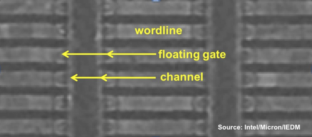 SEM cross-section of Intel/Micron vertical-channel 3D-NAND structure