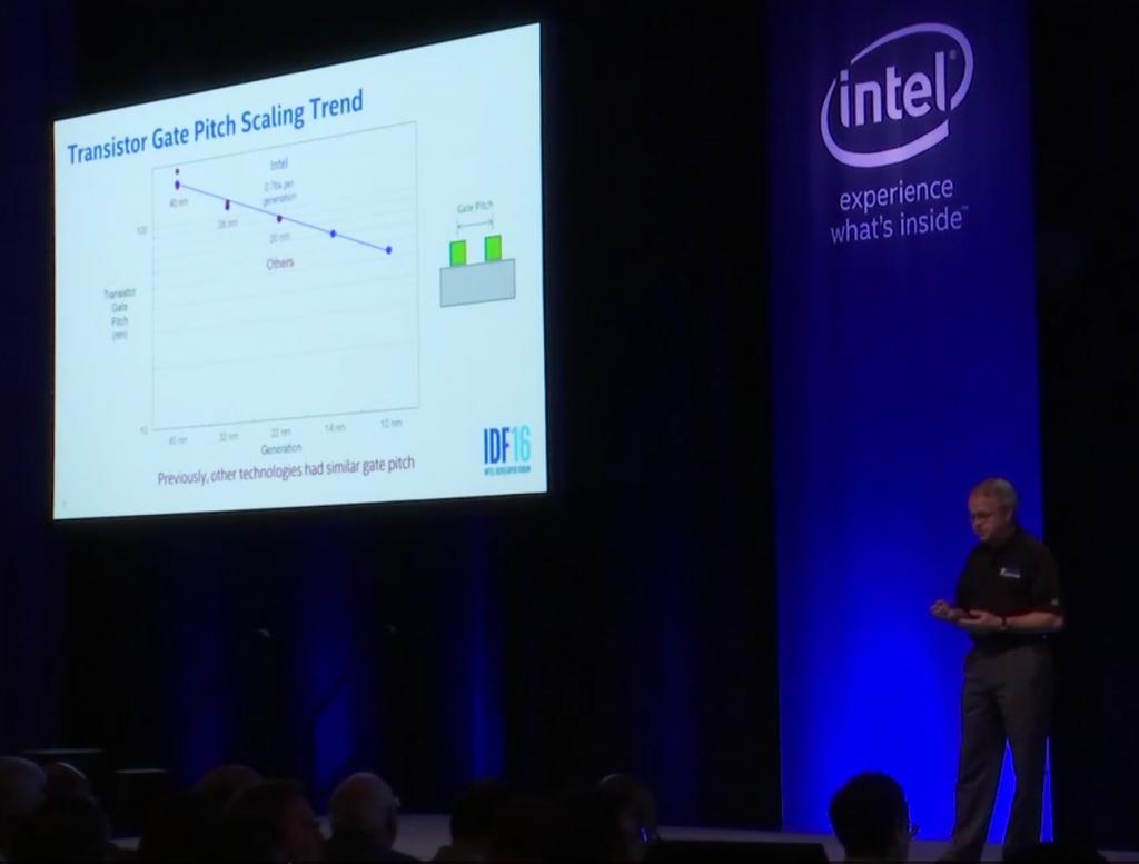 Mark Bohr presenting at the 2016 IDF in San Francisco (Source: Intel)