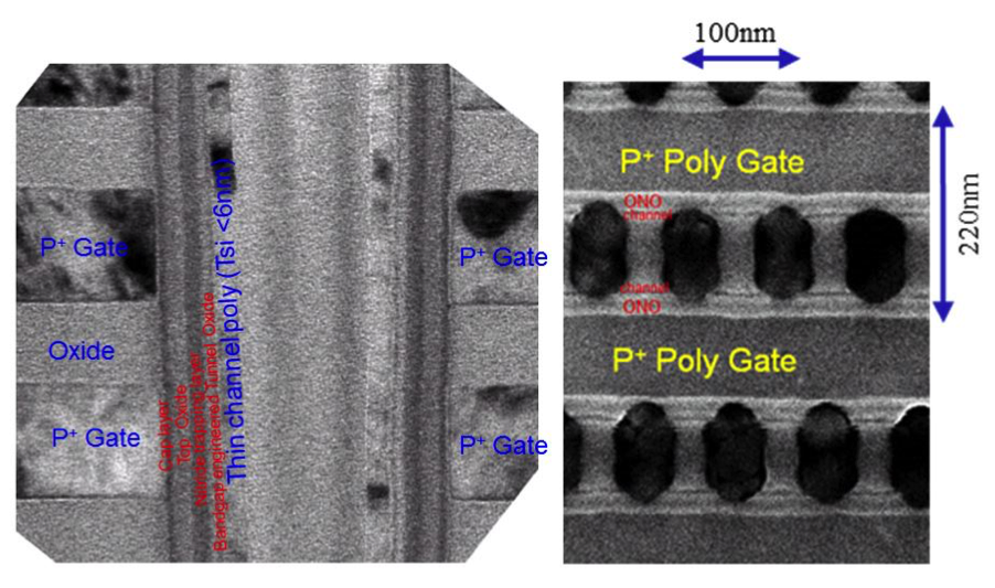 TEM cross-sectional views in the (left) channel length and (right) width directions  (source: IEDM/Macronix)