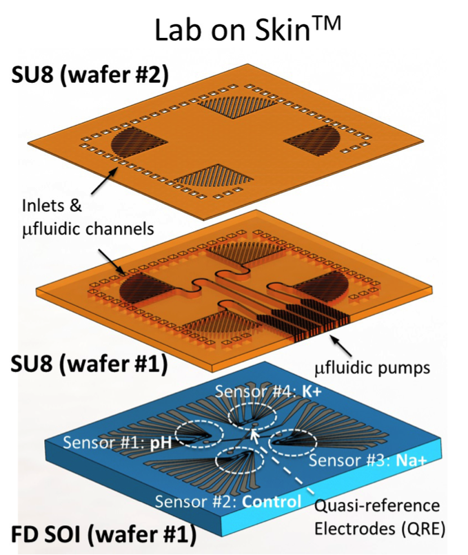 Schematic of Lab-on-Skin; the two top layers depict the design of the sensing and microfluidic layers, while the bottom layer is a wafer-level view after the ion-sensitive FETs and the first layer of SU-8 passivation have been fabricated.  (source: IEDM/EPFL)